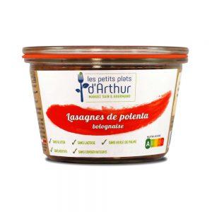 Lasagnes de polenta bolognaise sans gluten, sans lactose, sans additifs, sans conservateurs et sans huile de palme.