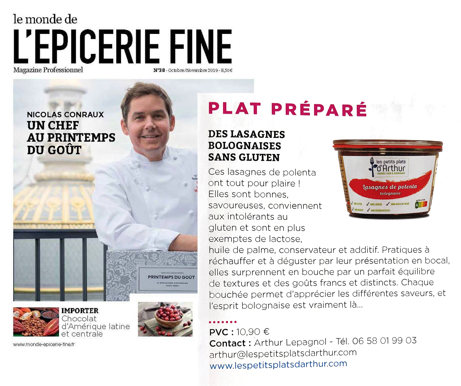 "Already cooked dishes from ""Le Monde de L'épicerie fine"" gluten free dishes"